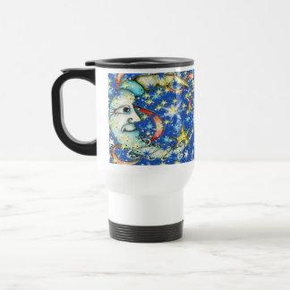 Estrellas azules Sun y diseño de la luna Taza De Viaje