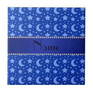 Estrellas azules y lunas conocidas personalizadas azulejos cerámicos