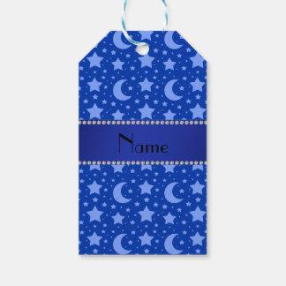 Estrellas azules y lunas conocidas personalizadas etiquetas para regalos