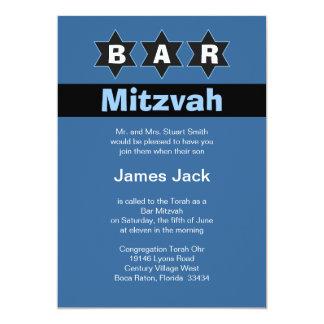Estrellas azules y negras modernas de Mitzvah de Invitación