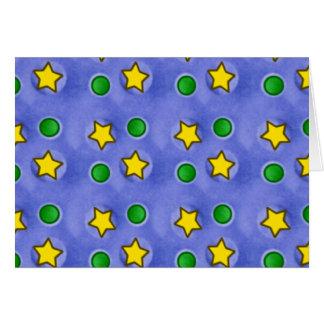 Estrellas azules y tarjeta de felicitación de los