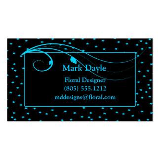 Estrellas azules y vides de la aguamarina en negro tarjetas de visita