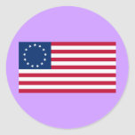 Estrellas Betsy Ross de la bandera 13 de los Pegatina Redonda