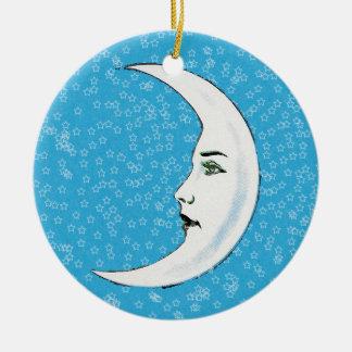 Estrellas blancas crecientes del blanco de la cara adorno de navidad