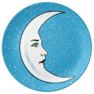Estrellas blancas crecientes del blanco de la cara plato de cerámica