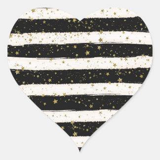 Estrellas blancas negras del brillo del oro de las pegatina en forma de corazón