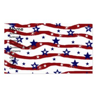 Estrellas blancas rojas de las rayas azules tarjetas de visita