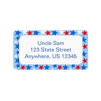 Estrellas blancas y azules rojas etiquetas de dirección