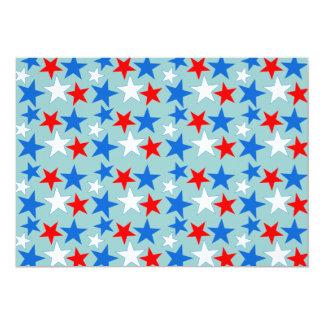 Estrellas blancas y azules rojas invitación 12,7 x 17,8 cm