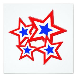 """Estrellas blancas y azules rojas invitación 5.25"""" x 5.25"""""""