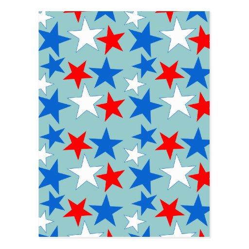 Estrellas blancas y azules rojas tarjeta postal