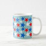 Estrellas blancas y azules rojas tazas