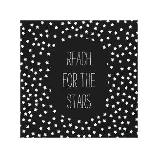 Estrellas blancos y negros impresión de lienzo