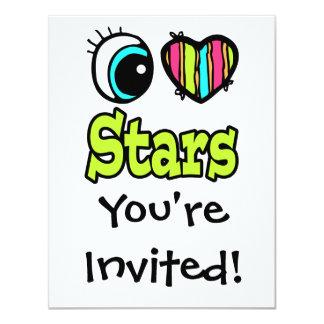 """Estrellas brillantes del amor del corazón I del Invitación 4.25"""" X 5.5"""""""