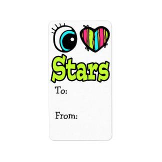 Estrellas brillantes del amor del corazón I del oj Etiquetas De Dirección