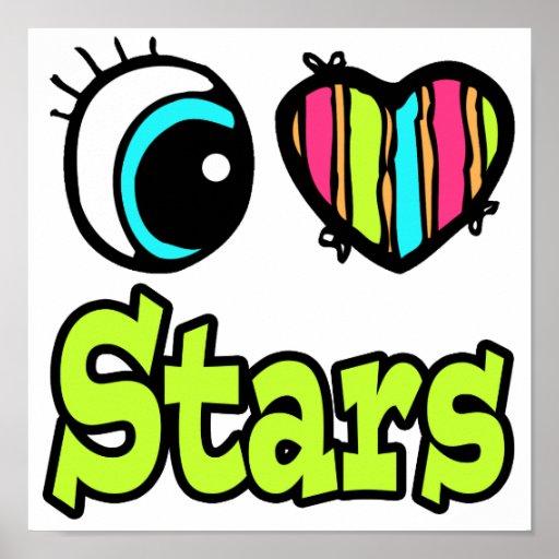 Estrellas brillantes del amor del corazón I del oj Póster