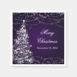 Estrellas brillantes del árbol de navidad elegante servilleta de papel