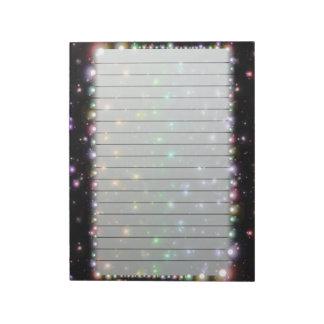 Estrellas brillantes del arco iris que brillan int libreta para notas