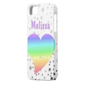 Estrellas brillantes del corazón retro del arco ir iPhone 5 protectores