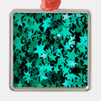 Estrellas brillantes verdes adorno navideño cuadrado de metal