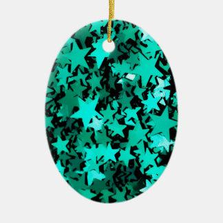 Estrellas brillantes verdes adorno navideño ovalado de cerámica