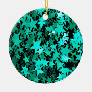 Estrellas brillantes verdes adorno navideño redondo de cerámica