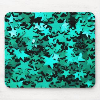 Estrellas brillantes verdes mouse pads