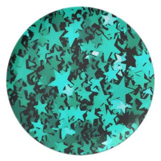 Estrellas brillantes verdes plato para fiesta
