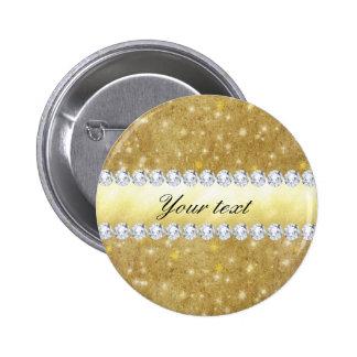 Estrellas chispeantes y diamantes del oro elegante pin redondo de 2 pulgadas