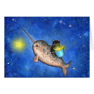 Estrellas colgantes con un Narwhal amistoso Felicitacion
