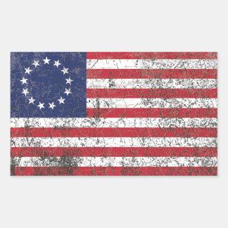 Estrellas coloniales americanas de la bandera pegatina rectangular