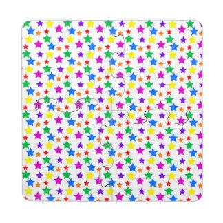 Estrellas coloreadas arco iris posavasos de puzzle
