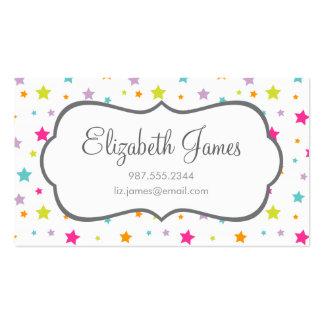 Estrellas coloridas brillantes lindas plantillas de tarjetas de visita