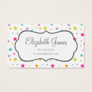 Estrellas coloridas brillantes lindas tarjeta de negocios