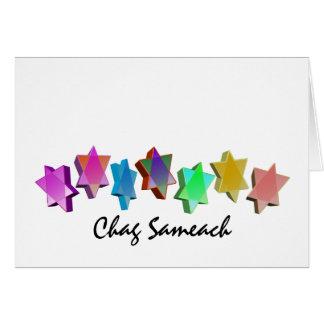 Estrellas coloridas de Chag Sameach 3D Tarjeta De Felicitación