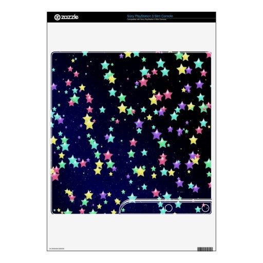 Estrellas coloridas de la noche PS3 slim skin