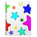Estrellas coloridas del arco iris libros de apuntes