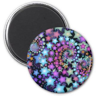 Estrellas coloridas del arte del fractal de la div imán redondo 5 cm
