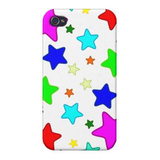 Estrellas coloridas del dibujo animado iPhone 4 carcasas