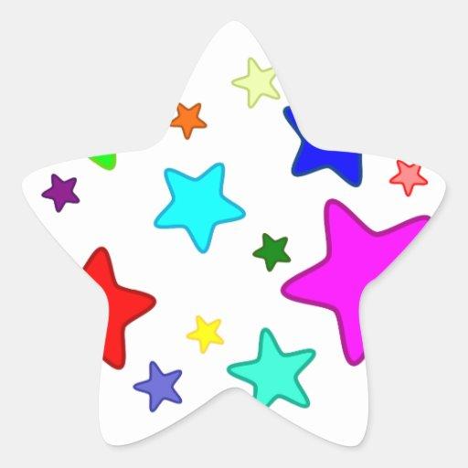 Estrellas coloridas del dibujo animado pegatina en forma de estrella