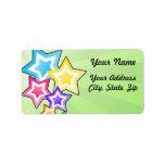 Estrellas coloridas etiquetas de dirección