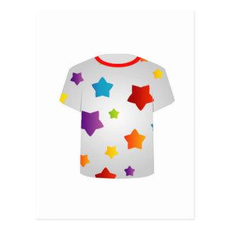 Estrellas coloridas gráficas de la camiseta postales