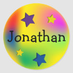Estrellas coloridas modificadas para requisitos pegatinas redondas