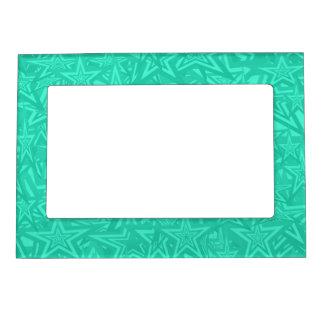 Estrellas concéntricas verdes abstractas marcos magnéticos de fotos