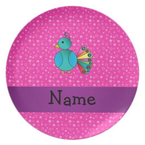 Estrellas conocidas personalizadas del rosa del pa plato de cena