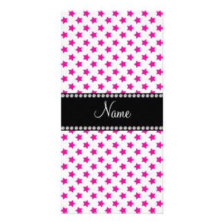 Estrellas conocidas personalizadas del rosa tarjetas fotograficas personalizadas