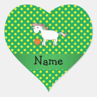 Estrellas conocidas personalizadas del unicornio calcomania corazon