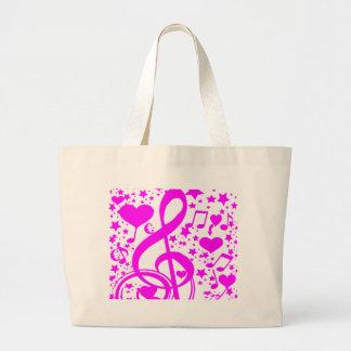 Estrellas, corazones y el notes-Pink_ de la música Bolsa Tela Grande