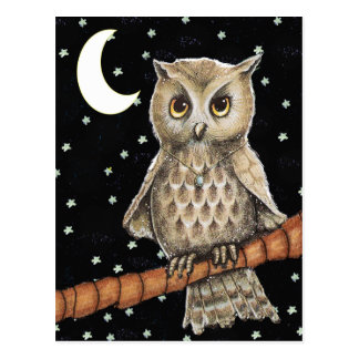 Estrellas crecientes de la luna del collar del búh postales