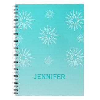 Estrellas cuaderno, aguamarina del navidad del des